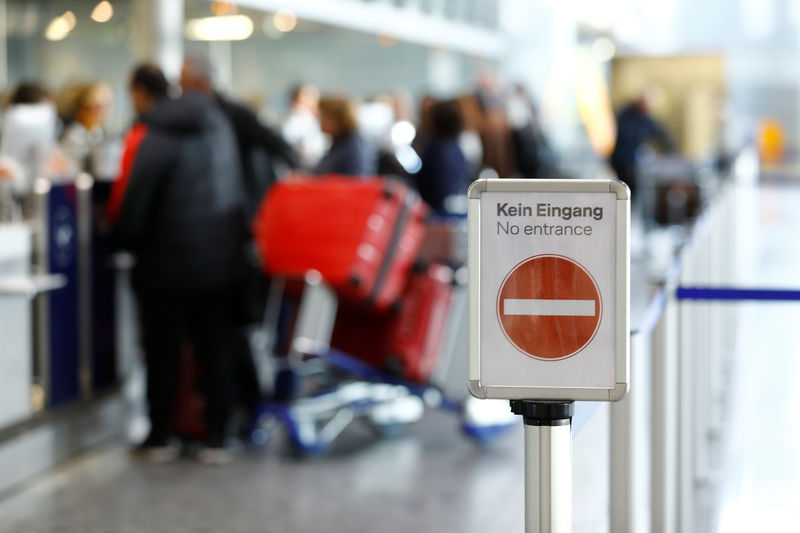 © Reuters. Strike of Germany's cabin crew union UFO at Frankfurt airport