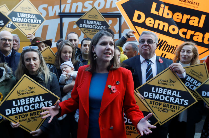 © Reuters. Jo Swinson campaigns ahead of the general election in London