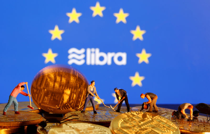 © Reuters. FILE PHOTO: Small toy figures are seen on representations of the virtual currency before the displayed European Union flag and the Facebook Libra logo in this illustration picture