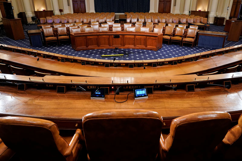 © Reuters. The committee room where hearings in the impeachment inquiry against U.S. President Donald Trump is shown in Washington.