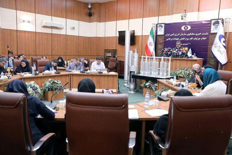 © Reuters. FILE PHOTO:  Behrouz Kamalvandi, spokesman for the Atomic Energy Organization of Iran speaks during news conference in Tehran