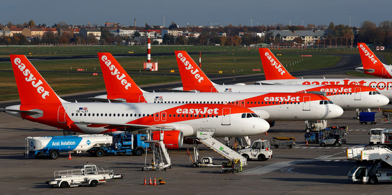 © Reuters. FILE PHOTO: EasyJet airplanes are pictured at Tegel airport in Berlin