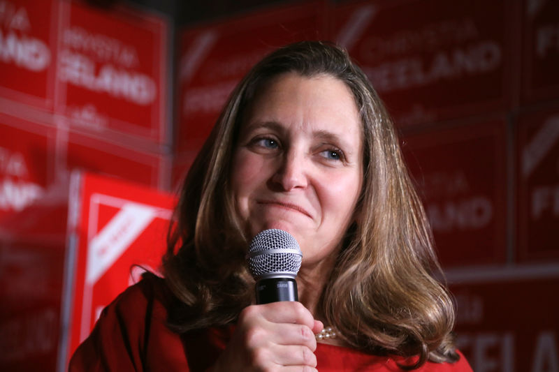 Canadian foreign minister Freeland to get new job: Radio-Canada By Reu