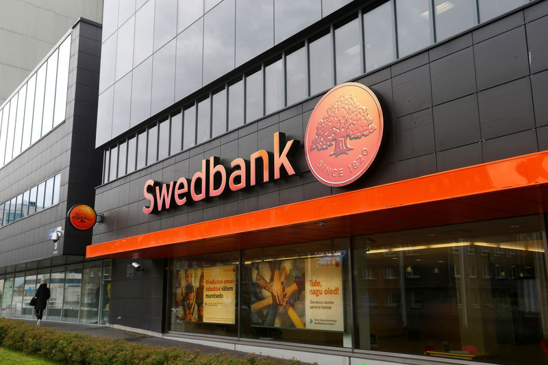 © Reuters. FILE PHOTO: A view of the Swedbank in Tallinn