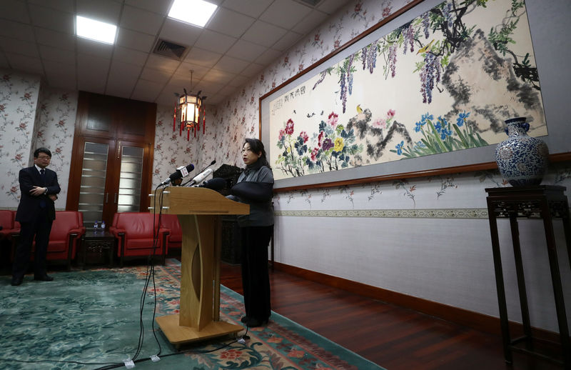 © Reuters. Hong Kong Secretary for Justice Teresa Cheng speaks during a news conference at the Chinese Embassy in London