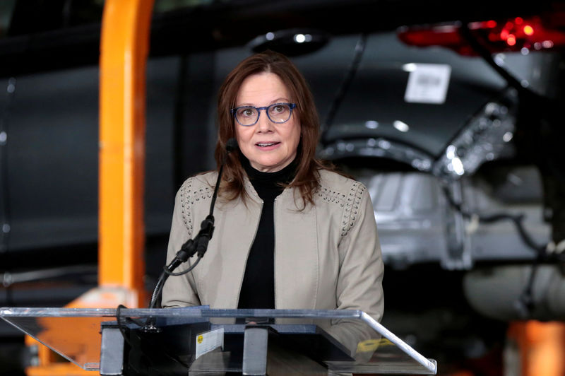 © Reuters. FILE PHOTO: General Motors Chief Executive Officer Mary Barra announces a major investment focused on the development of GM future technologies at the GM Orion Assembly Plant in Lake Orion,