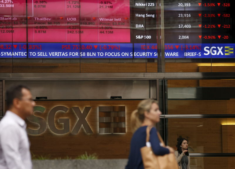 © Reuters. People pass a stock board showing stocks in red outside the Singapore Exchange in the central business district in Singapore