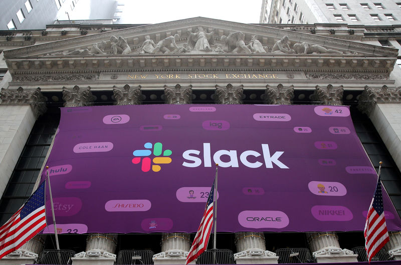 Slack forecast disappoints as competition weighs, shares drop By Reute