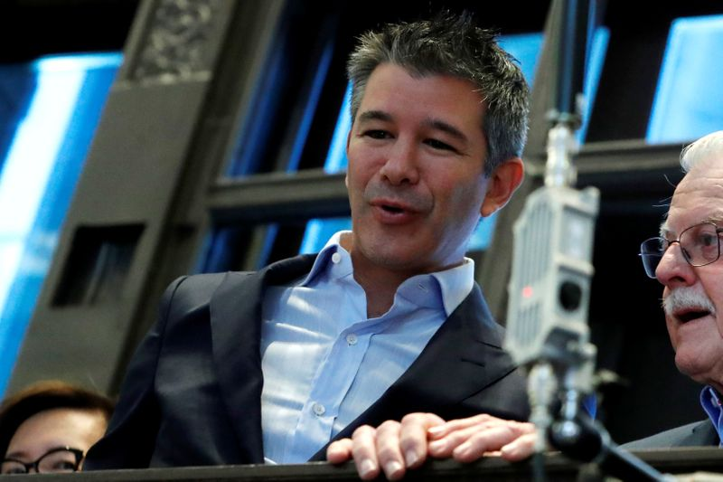 © Reuters. FILE PHOTO:  Former Uber Technologies Inc. CEO and co-founder Travis Kalanick at NYSE during the company's IPO in New York