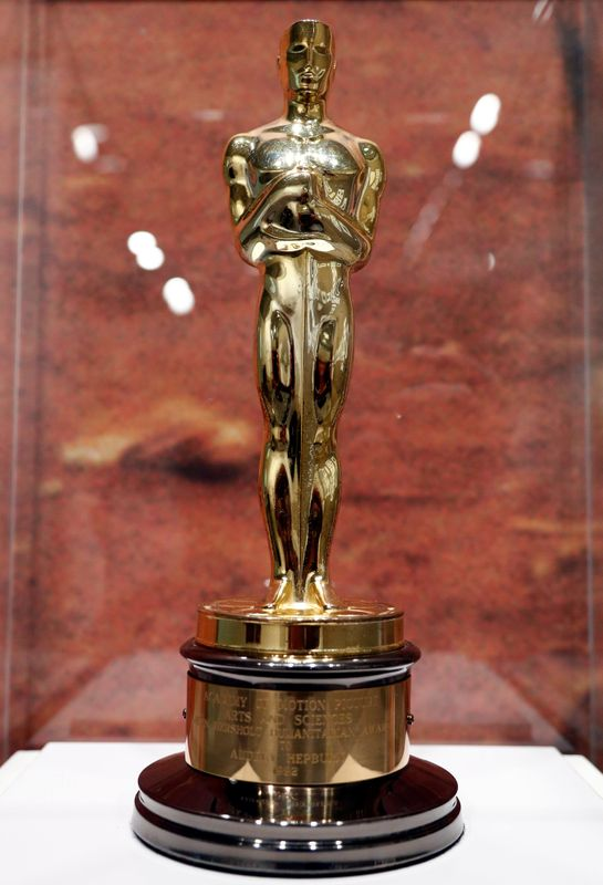 © Reuters. An Oscar statuette awarded to Audrey Hepburn for her humanitarian work is pictured at the exhibition