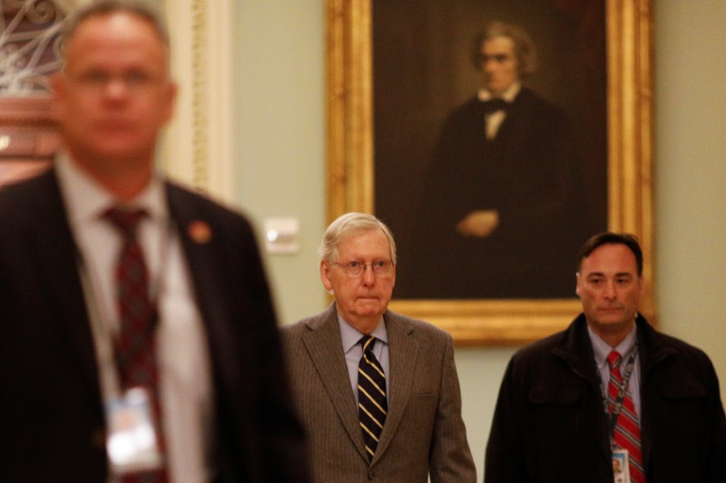 © Reuters. FILE PHOTO: U.S. Senate Majority Leader McConnell walks to his office at the U.S. Capitol in Washington