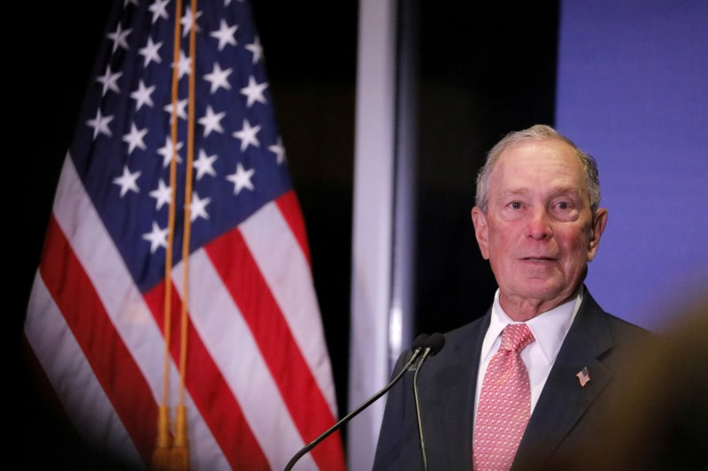 © Reuters. FILE PHOTO: Democratic U.S. presidential candidate Michael Bloomberg delivers remarks where he was honored by the Iron Hills Civic Association at the Richmond County Country Club in Staten Island, New York