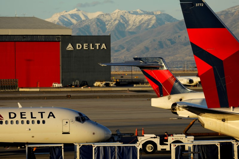 � Reuters. FILE PHOTO: A Delta Air Lines flight is pushed put of its gate at the airport in Salt Lake City