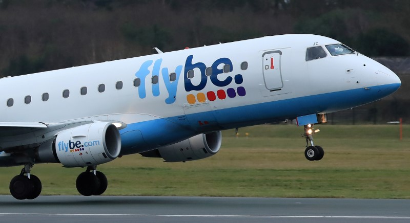 © Reuters. FILE PHOTO: A Flybe plane takes off from Manchester Airport in Manchester, Britain