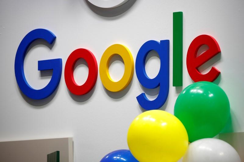 © Reuters. FILE PHOTO: Logo of Google is seen at VivaTech fair in Paris
