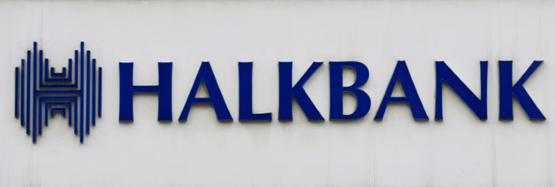 © Reuters. FILE PHOTO: A view shows the logo of Halkbank at its headquarters in Atasehir, in the Asian part of Istanbul