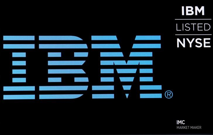 © Reuters. The logo for IBM is displayed on a screen on the floor of the NYSE in New York