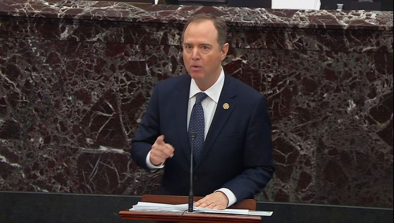 © Reuters. House Intelligence Committee Chairman Schiff delivers opening argument during impeachment trial of President Trump at the U.S. Capitol in Washington