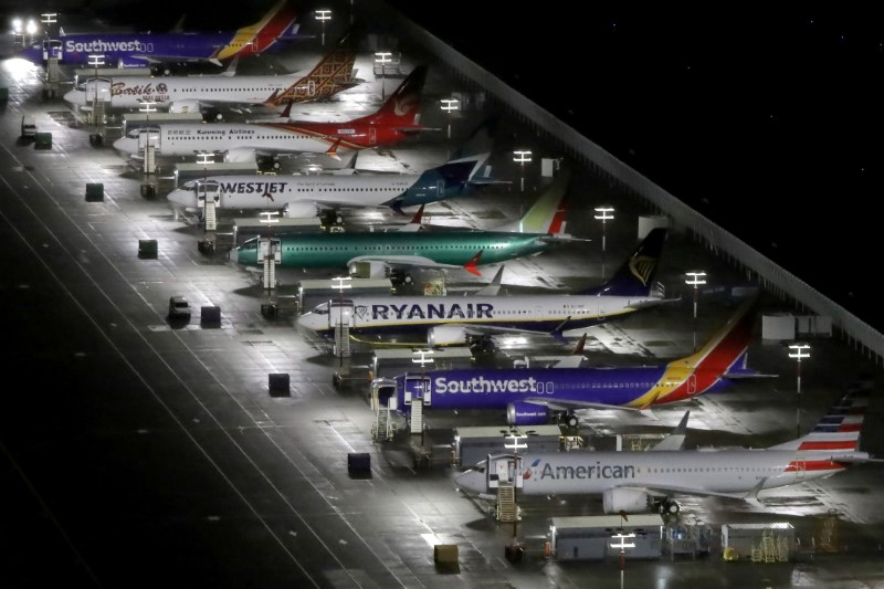 © Reuters. FILE PHOTO: Aerial photos show Boeing 737 Max airplanes on the tarmac in Seattle