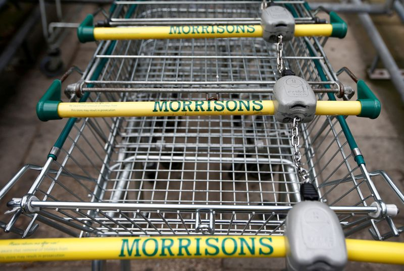 © Reuters. FILE PHOTO: Shopping trolleys are parked at a Morrisons supermarket in south London