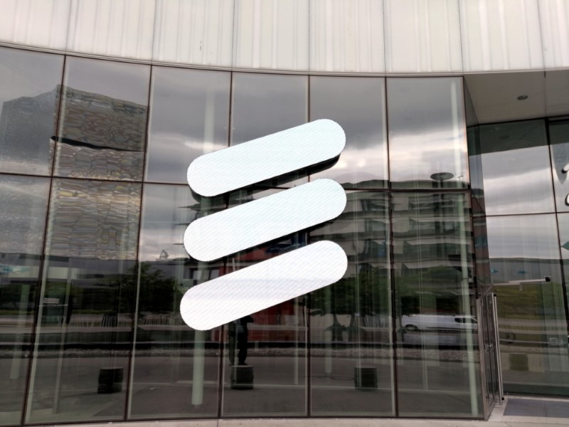 © Reuters. The Ericsson logo is seen at the Ericsson's headquarters in Stockholm
