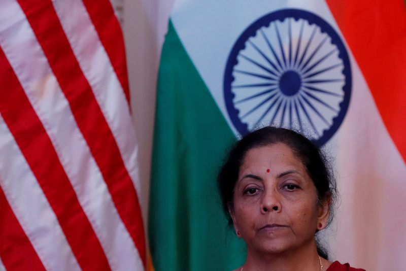 © Reuters. FILE PHOTO: India's Finance Minister Nirmala Sitharaman attends a joint news conference with U.S. Treasury Secretary Steven Mnuchin in New Delhi