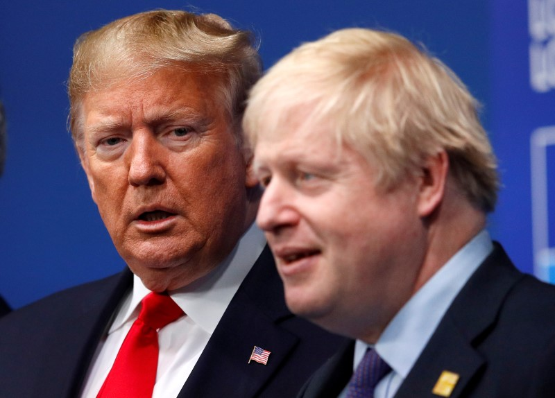 © Reuters. FILE PHOTO: Britain's Prime Minister Boris Johnson welcomes U.S. President Donald Trump at the NATO leaders summit in Watford