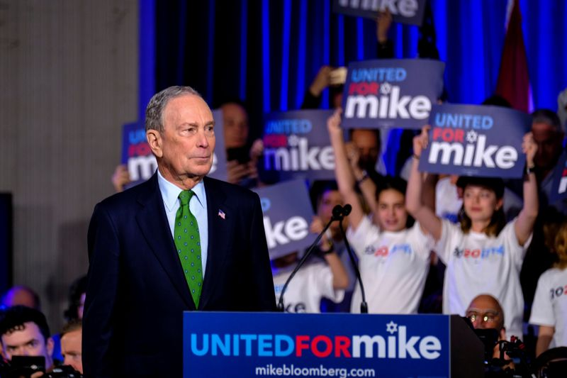 © Reuters. Michael Bloomberg speaks in Miami