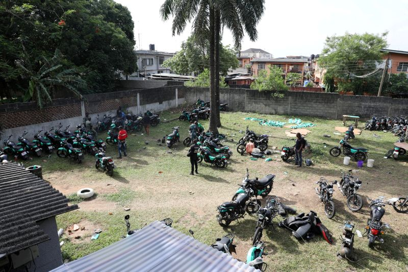 © Reuters. FILE PHOTO: Several bikes are seen packed within the premises of Gokada bike company in Lagos