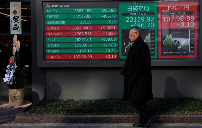 © Reuters. A decoration for celebrating new year is seen next to a stock index board outside a brokerage in Tokyo