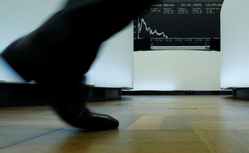 © Reuters. FILE PHOTO: A trader walks past the German share price index DAX graph at Frankfurt's stock exchange in Frankfurt