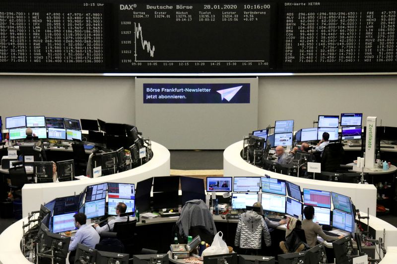 © Reuters. The German share price index DAX graph is pictured at the stock exchange in Frankfurt