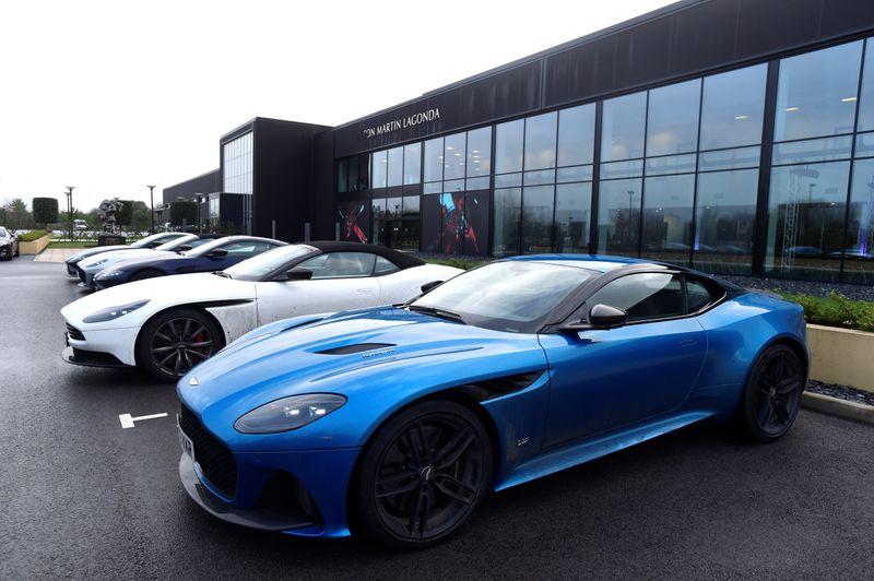 © Reuters. Aston Martin Lagonda cars parked outside the new factory at Saint Athan
