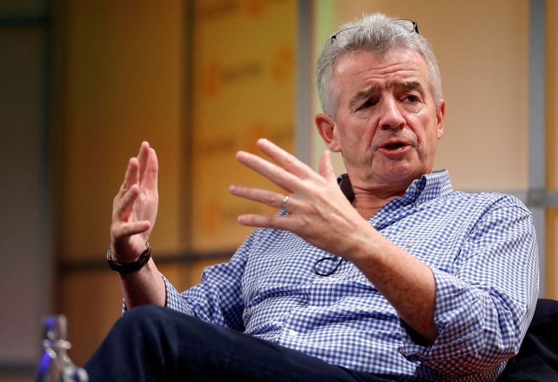 © Reuters. FILE PHOTO: Ryanair Chief Executive Michael O'Leary attends a Reuters Newsmaker event in London