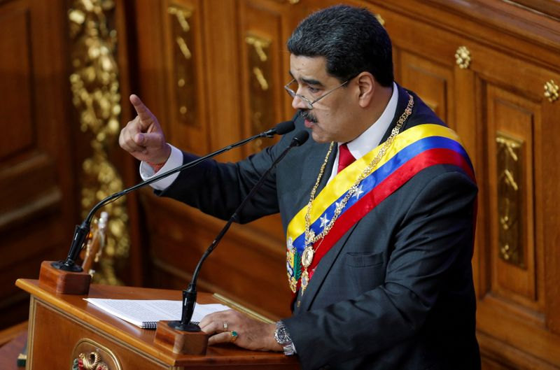 © Reuters. FILE PHOTO: Venezuela's President Nicolas Maduro delivers his annual state of the nation speech during a special session of the National Constituent Assembly, in Caracas