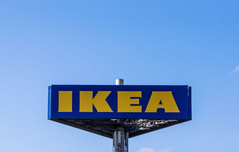 © Reuters. FILE PHOTO: The logo of Ikea is seen outside the Ikea Concept store, run by Inter Ikea brand and concept in Delft