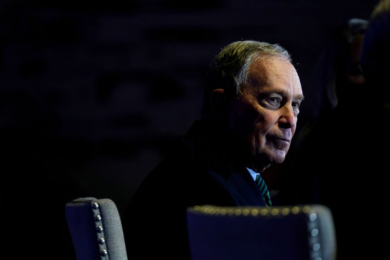 © Reuters. FILE PHOTO: Democratic U.S. presidential candidate Michael Bloomberg speaks about his gun policy agenda during a visit to Aurora
