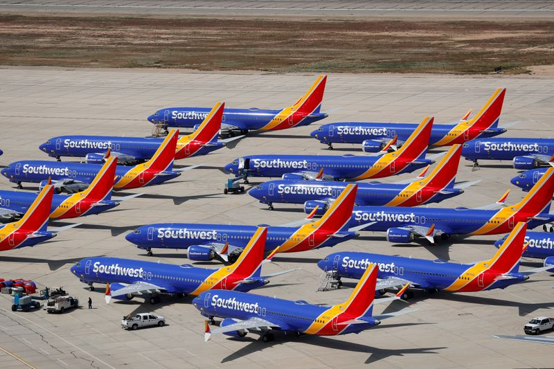 © Reuters. FILE PHOTO: FILE PHOTO: A number of grounded Southwest Airlines Boeing 737 MAX 8 aircraft are shown parked at Victorville Airport in Victorville, California