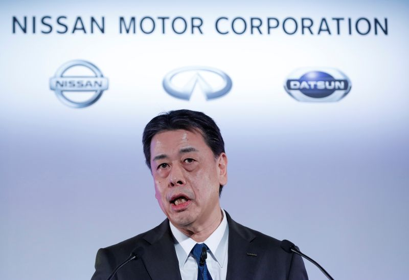 © Reuters. Nissan Motor Co CEO Makoto Uchida speaks during a news conference at its headquarters in Yokohama