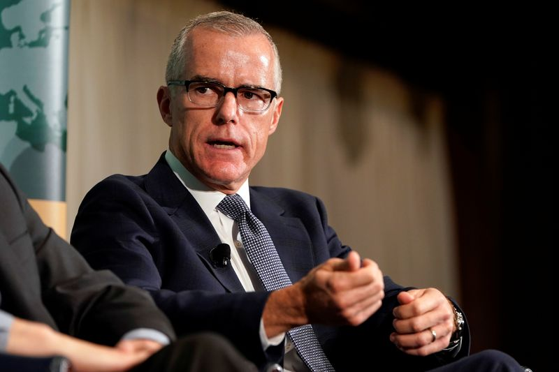 © Reuters. Former acting FBI director Andrew McCabe speaks during a forum on election security in Washington