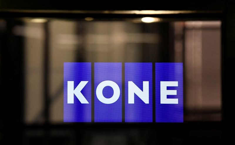 © Reuters. Logo is displayed in an elevator at the KONE Academy of Finish manufacturer KONE in Hanover