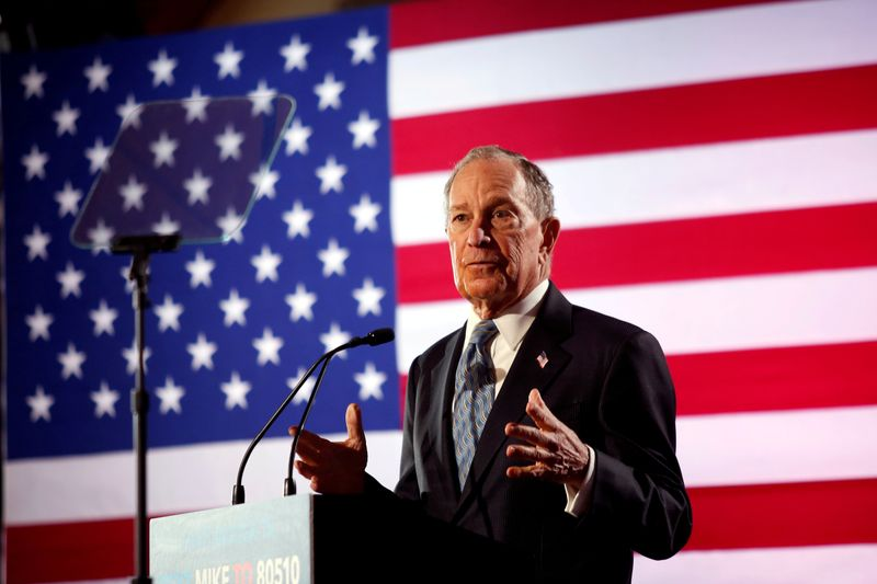 © Reuters. FILE PHOTO: Democratic presidential candidate Michael Bloomberg attend a campaign event in Chattanooga