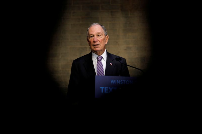 © Reuters. Democratic presidential candidate Bloomberg at campaign event in Winston-Salem, North Carolina