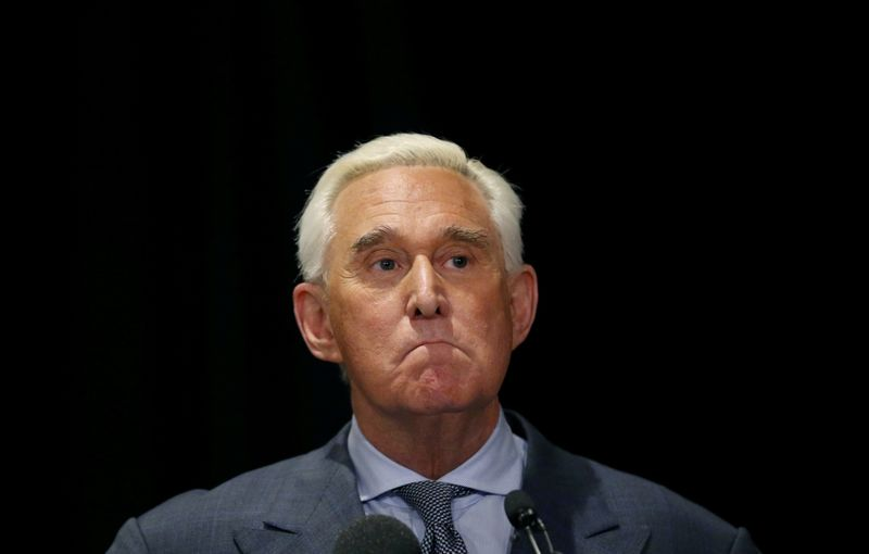 © Reuters. FILE PHOTO: Roger Stone, longtime ally of U.S. President Donald Trump,  holds a news conference in Washington