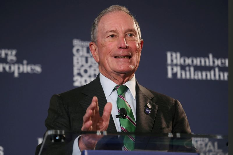 © Reuters. FILE PHOTO: Former New York City Mayor Michael Bloomberg speaks at the Bloomberg Global Business forum in New York