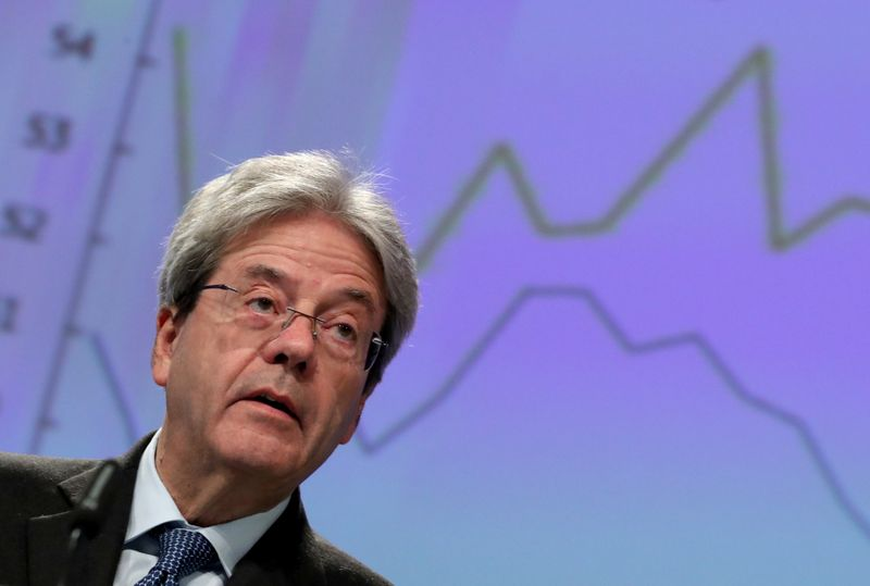 EU's Gentiloni says expected rebound in Italy, France, Germany now uncertain