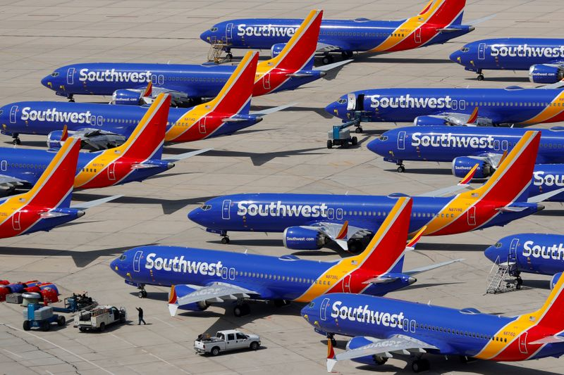 © Reuters. FILE PHOTO: A number of grounded Southwest Airlines Boeing 737 MAX 8 aircraft are shown parked at Victorville Airport in Victorville, California