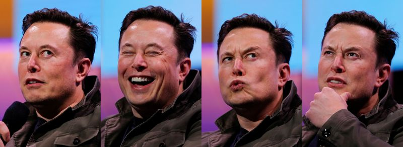 © Reuters. FILE PHOTO: A combination picture shows SpaceX owner and Tesla CEO Elon Musk speaking during a conversation with legendary game designer Todd Howard at the E3 gaming convention in Los Angeles, California