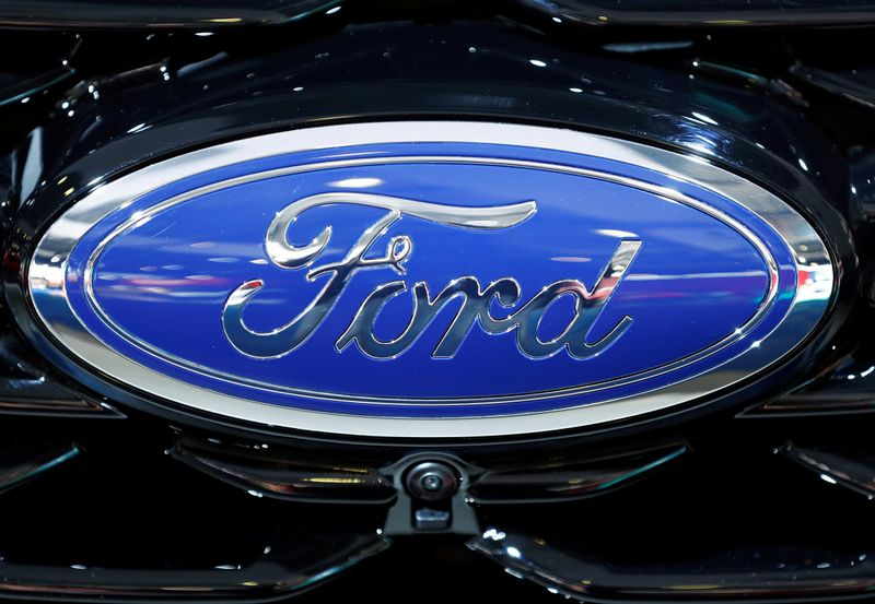 © Reuters. The corporate logo of Ford is seen at Brussels Motor Show