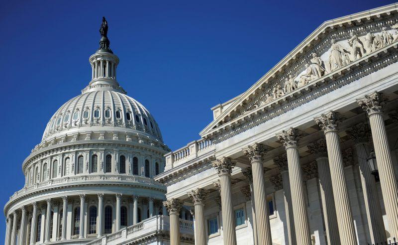 © Reuters. FILE PHOTO: The U.S. Capitol dome and U.S. Senate in Washington